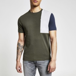 Mens River Island Khaki colour blocked regular fit T-shirt
