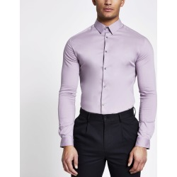 Mens River Island Lilac long sleeve muscle fit shirt