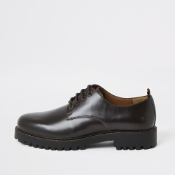 River Island Mens Dark brown chunky sole leather derby shoes