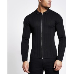 Mens River Island Black zip front muscle fit knitted shirt
