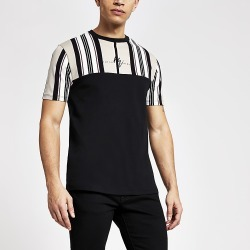 River Island Mens Maison Riviera cream stripe slim fit T-shirt