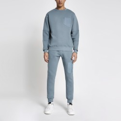Mens River Island Pastel Tech Blue nylon pocket sweatshirt