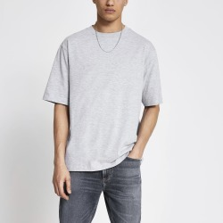 Mens River Island Grey short sleeve oversized T-shirt found on MODAPINS from River Island - UK for USD $10.02