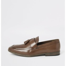 Mens River Island Brown leather tassel front textured loafers found on Bargain Bro UK from River Island - UK