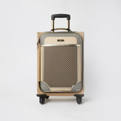 River Island Womens Brown RI monogram four wheel suitcase found on Bargain Bro UK from River Island - UK