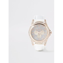 River Island Girls White diamante embellished watch