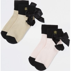 River Island Girls Beige RIR embroidered bow socks 2 pack found on Bargain Bro UK from River Island - UK