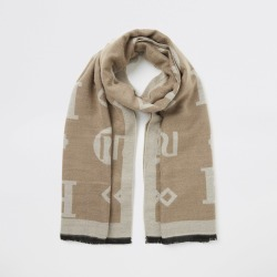 River Island Womens Beige RI monogram jacquard scarf found on MODAPINS from River Island - UK for USD $28.45