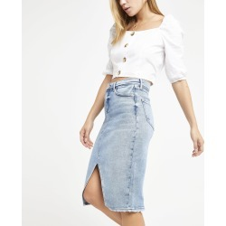 Womens Light Blue fray denim pencil skirt found on MODAPINS from River Island - UK for USD $45.75