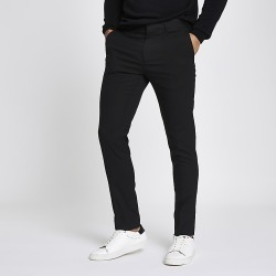 River Island Mens Black skinny fit smart trousers