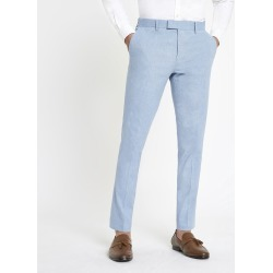Mens River Island Light Blue skinny suit trousers with linen