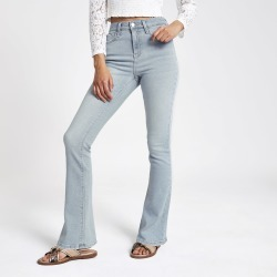 Womens Light Blue high rise bootcut flared jeans found on MODAPINS from River Island - UK for USD $50.97