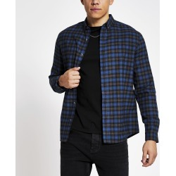 Mens River Island Maison Riviera Blue check slim fit shirt