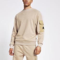 River Island Mens MCMLX stone nylon block slim fit sweatshirt