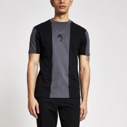 Mens River Island Maison Riviera Black blocked slim T-Shirt