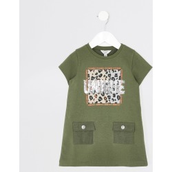 River Island Mini girls Khaki 'Unique' T-shirt dress found on Bargain Bro UK from River Island - UK