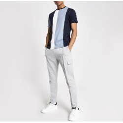 Mens River Island Blue colour blocked slim fit T-shirt