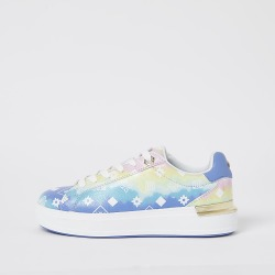 River Island Womens Blue ombre RI monogram lace up trainers found on MODAPINS from RIver Island US for USD $78.00
