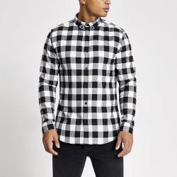 Mens River Island Ecru slim fit check long sleeve shirt