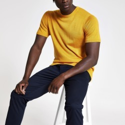 Mens River Island Selected Homme Yellow knit T-shirt found on Bargain Bro UK from River Island - UK