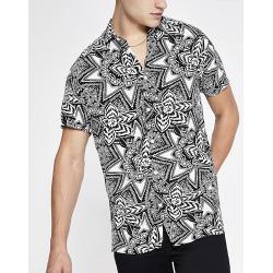 River Island Mens Selected Homme white print regular fit shirt