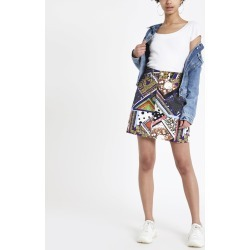 Womens Mixed print high rise denim skirt found on MODAPINS from River Island - UK for USD $40.66