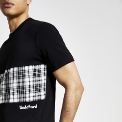 River Island Mens Undefined black check blocked T-shirt