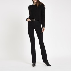 Womens Black high rise bootcut flared jeans found on MODAPINS from River Island - UK for USD $50.97