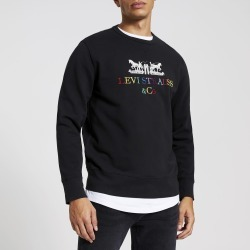 Mens River Island Levi's Black embroidered sweatshirt