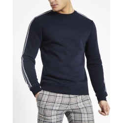 Mens Navy tape slim fit crew neck sweatshirt found on MODAPINS from River Island - UK for USD $12.59