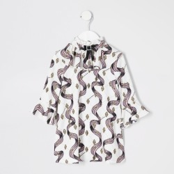 River Island Mini girls Cream printed bow neck dress found on Bargain Bro UK from River Island - UK