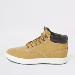 Mens River Island Light Brown mid top trainers