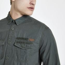 Mens River Island Superdry dark Green regular fit shirt