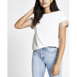 Womens White embellished cuff short sleeve T-shirt found on MODAPINS from River Island - UK for USD $32.43