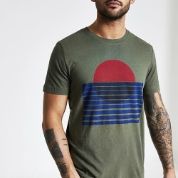 River Island Mens Selected Homme khaki printed T-shirt