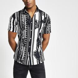 River Island Mens Black printed ribbed collar slim fit shirt