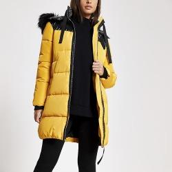 River Island Womens Yellow faux fur hood longline padded jacket