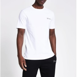 Mens River Island Prolific White short sleeve slim fit T-shirt