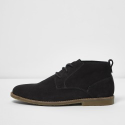Mens Dark Grey wide fit suede desert boots found on MODAPINS from River Island - UK for USD $63.54