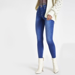 Womens Bright Blue contrast stitched Molly jeggings found on MODAPINS from River Island - UK for USD $31.18