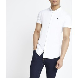 River Island Mens White muscle fit short sleeve Oxford shirt