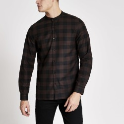 Mens River Island Brown check slim fit grandad collar shirt