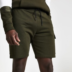 River Island Mens Khaki slim fit utility jersey shorts