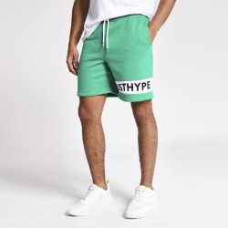 Mens River Island Hype Green 'Just Hype' logo shorts