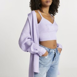 River Island Womens Purple RI monogram bralet top found on MODAPINS from River Island - UK for USD $35.93
