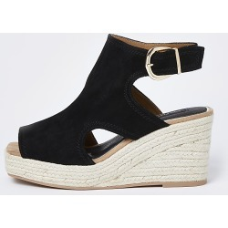 River Island Womens Black wide fit square toe wedge shoe boots found on MODAPINS from RIver Island US for USD $65.00