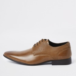 Mens River Island Brown line embossed lace-up derby shoes