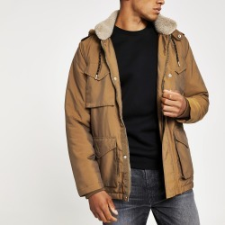 Mens River Island Brown borg lined hooded utility parka