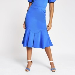 River Island Womens Blue fitted peplum frill midi skirt found on Bargain Bro UK from River Island - UK