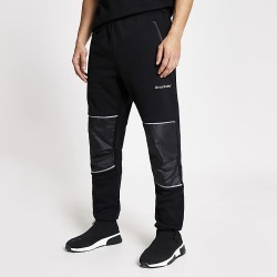 River Island Mens Arcminute black relaxed fit joggers